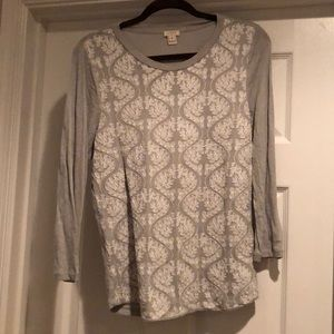 JCrew, grey embroidered top.